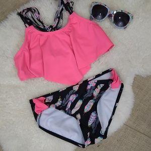 Macy's Girls Black/Pink Feather Bikini be Sz 10